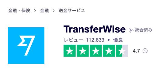 trustpiloでtransferwiseが獲得した星の数